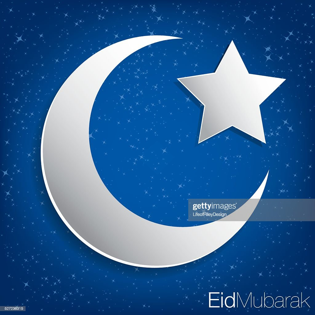 Concave moon and star Eid  card in vector format.