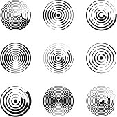 Concentric circles abstract geometric vector patterns. Circular shapes and round waves. Rings with radial lines