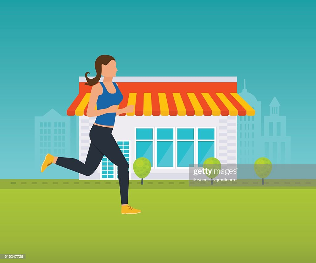 Concept - a healthy lifestyle, athletics, running outside on the : Vector Art