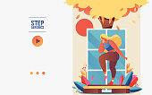 Concept banner or booklet template with young woman doing step aerobics.