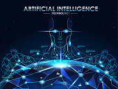 AI(Artificial Intelligence) concept banner. Robot connect the brain with big data in global network and Internet of things, neural network , deep learning. vector background.