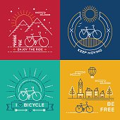 Concept bike line art bicycle set poster nature