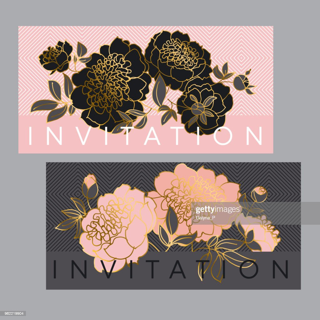 Concept black and pale rose peony flower.