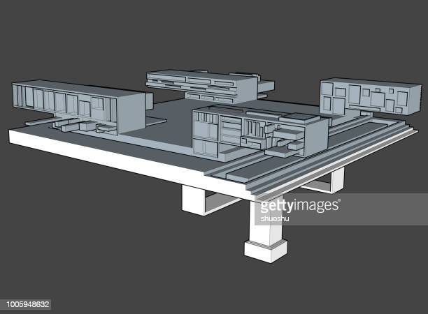 3d concept building model - model to scale stock illustrations, clip art, cartoons, & icons