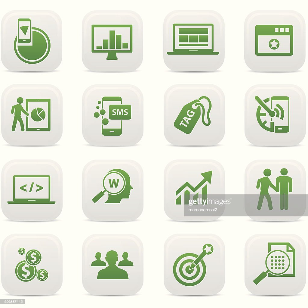SEO Concept buttons,Green version,vector