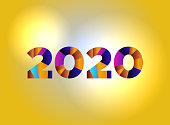 2020 Concept Colorful Word Art Illustration