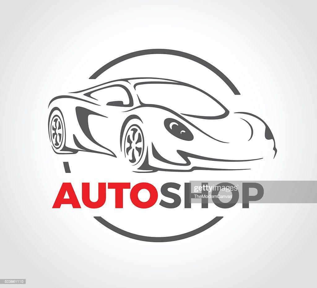 Concept design of super sports vehicle car auto shop logo.