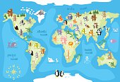 Concept design world map with animals of all the continents