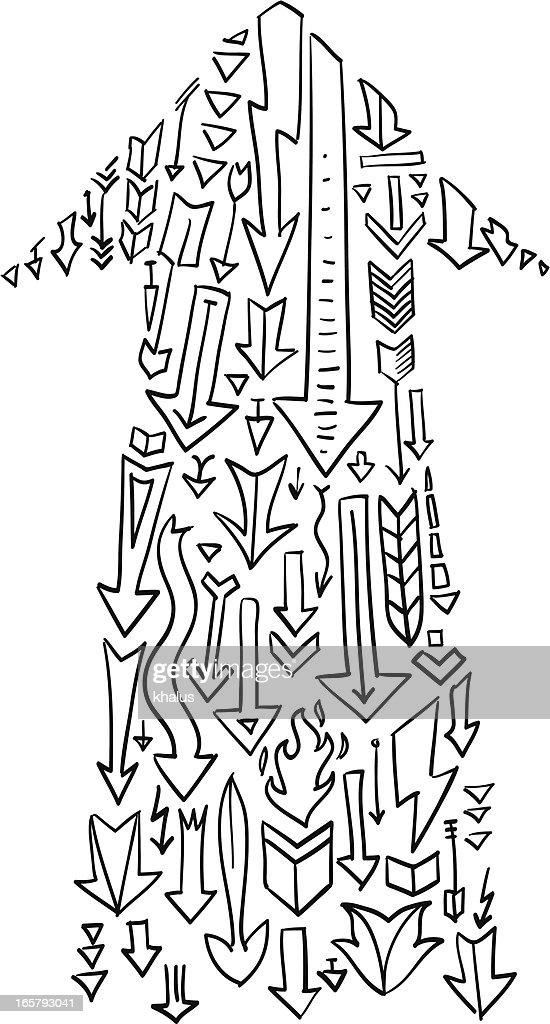 Concept doodle arrow