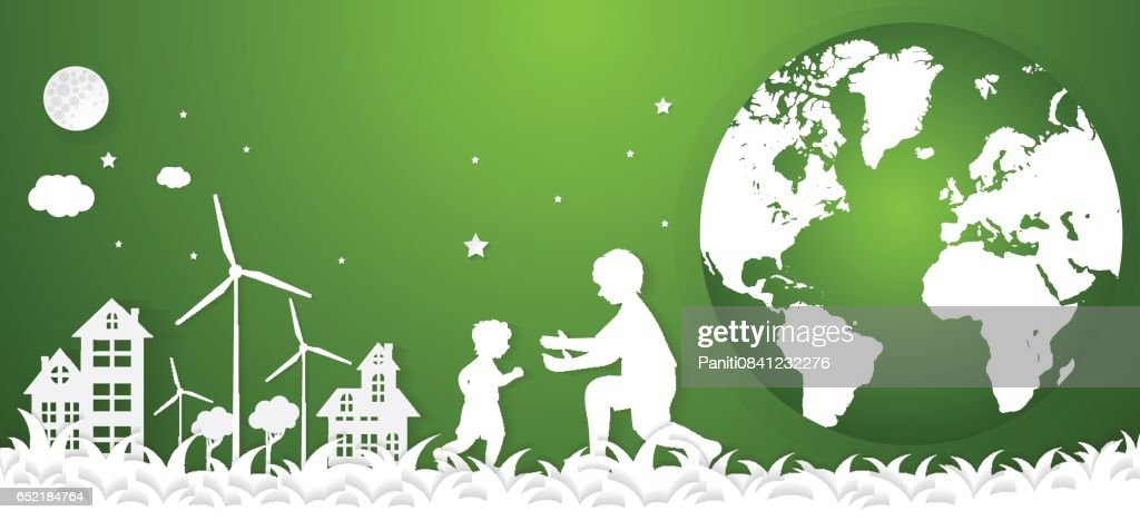 concept eco earth and family .paper art style.