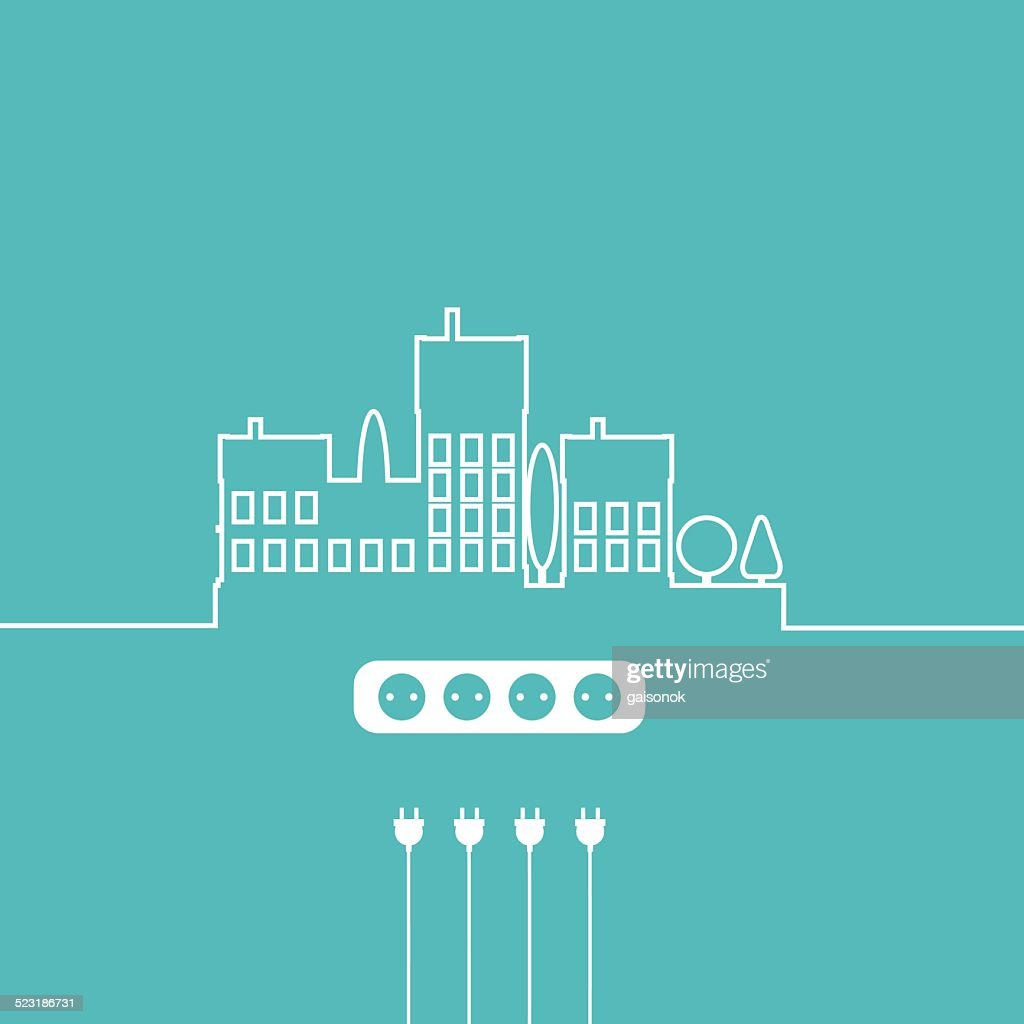 Concept Electric Circuit City Vector Flat Design Vector Art | Getty ...