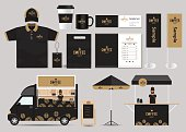 concept for coffee shop and restaurant identity mock up template