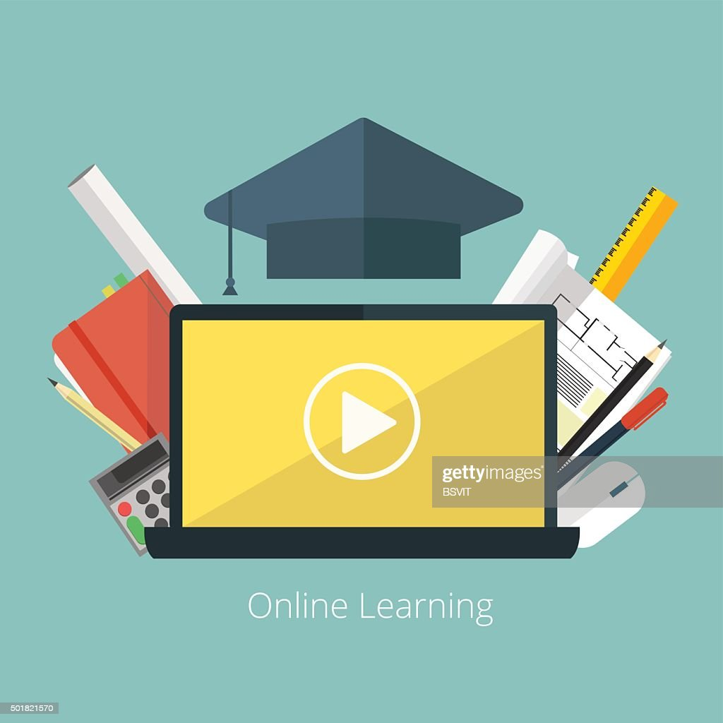 Concept for distance education, online learning for web banners .