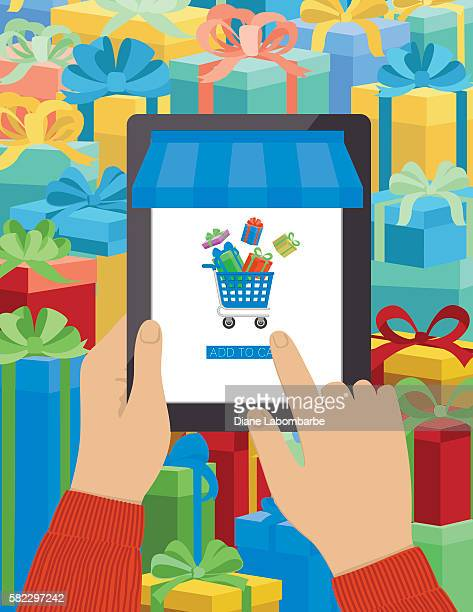 Concept for Online Christmas Shopping Using A Tablet