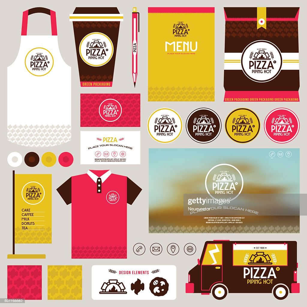 Concept for pizzeria  identity mock up template