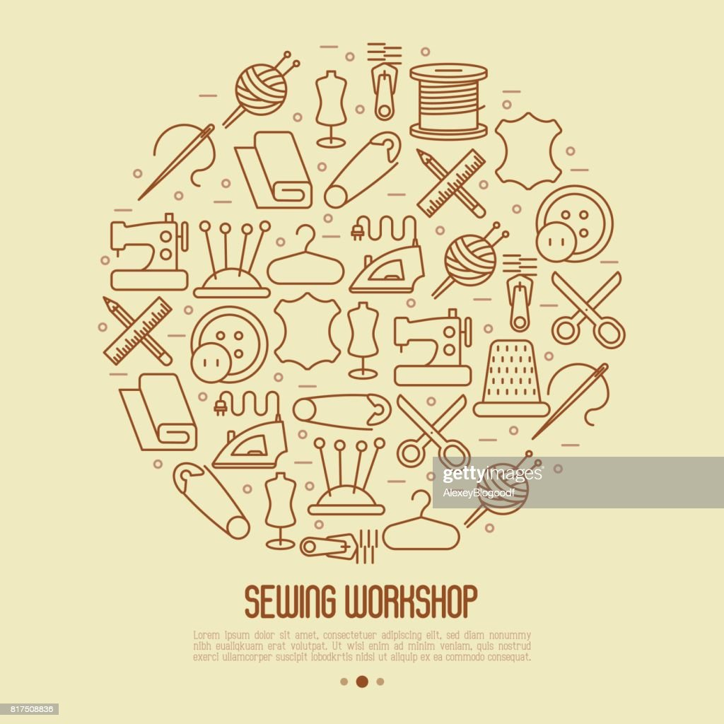 Concept for sewing workshop in circle with thin line icons set: sewing machine, dummy, scissors, iron,  needle, thread, iron. Vector illustration.