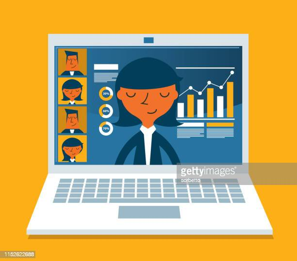 concept for video conference - businesswoman - presentation stock illustrations