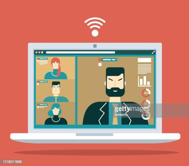 konzept für videokonferenz - internet konferenz stock-grafiken, -clipart, -cartoons und -symbole