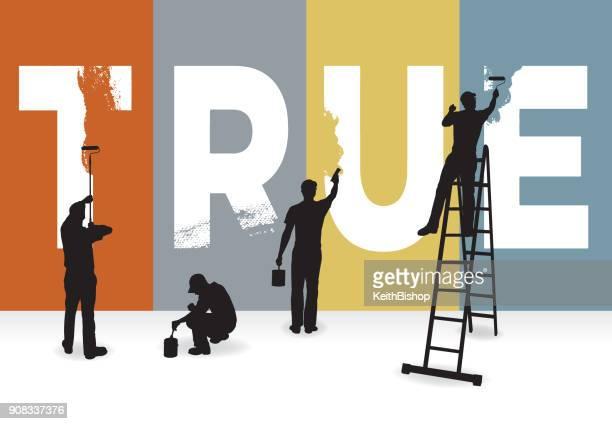 illustrazioni stock, clip art, cartoni animati e icone di tendenza di true, honesty, respect concept graphic - rispetto