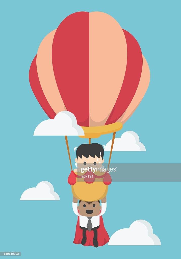Concept help fellow businessmen to success. Balloon,super busine