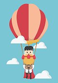 Concept help fellow businessmen to success. Balloon,super busine