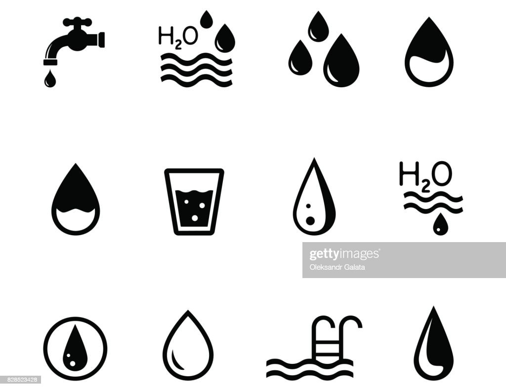 concept icons on the theme of water