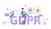 GDPR concept illustration. General Data Protection Regulation. The protection of personal data. Vector, isolated on white.