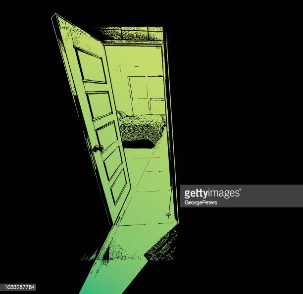 concept illustration of a open door silhouette with bright light - bedroom stock illustrations, clip art, cartoons, & icons