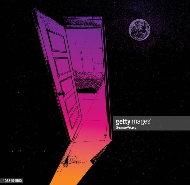 Concept illustration of an open door to space