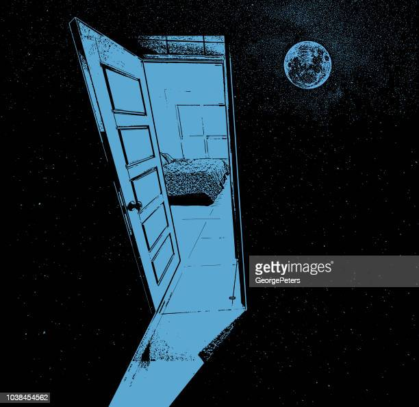 concept illustration of an open door to space - parallel stock illustrations, clip art, cartoons, & icons