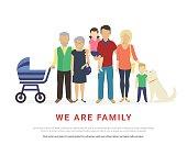 Concept illustration of big family portrait