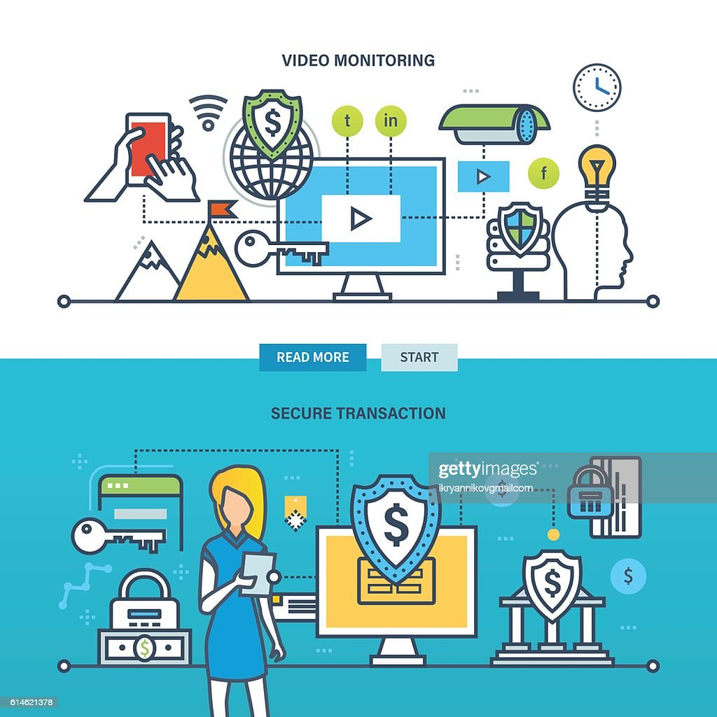 Concept illustration - technology, business, video monitoring and secure transaction.