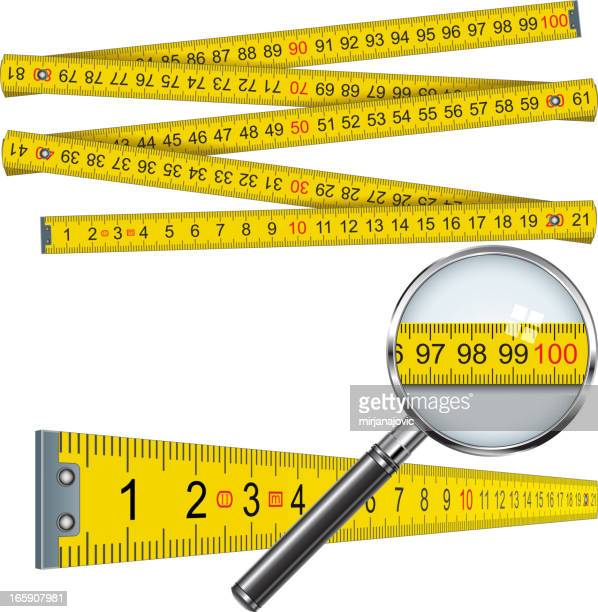 concept image of measuring tape with magnifying glass - letrac stock illustrations