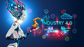 Concept Industry 4.0. Artificial intelligence automation of product manufacturing on smart factory.