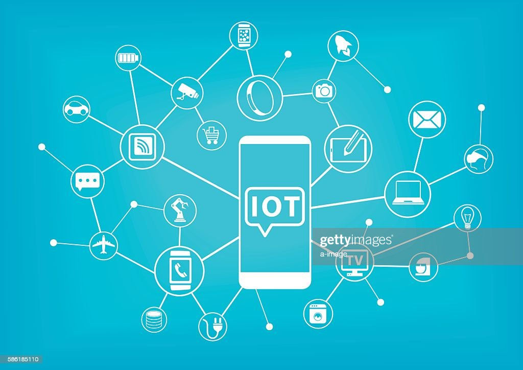IOT (internet of things) concept. Mobile phone connected