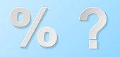 Concept of 3d icons - question mark and percent symbols. Vector.