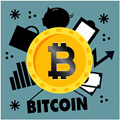 Concept Of Bitcoin Cryptocurrency Use In World Vector Image