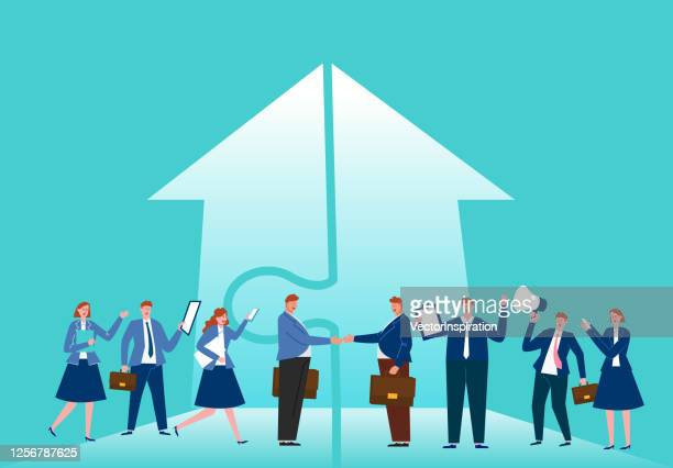 concept of business development and cooperation, partnership, business opportunity - merging stock illustrations