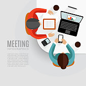 Concept of business meeting, brainstorming, teamwork, vector