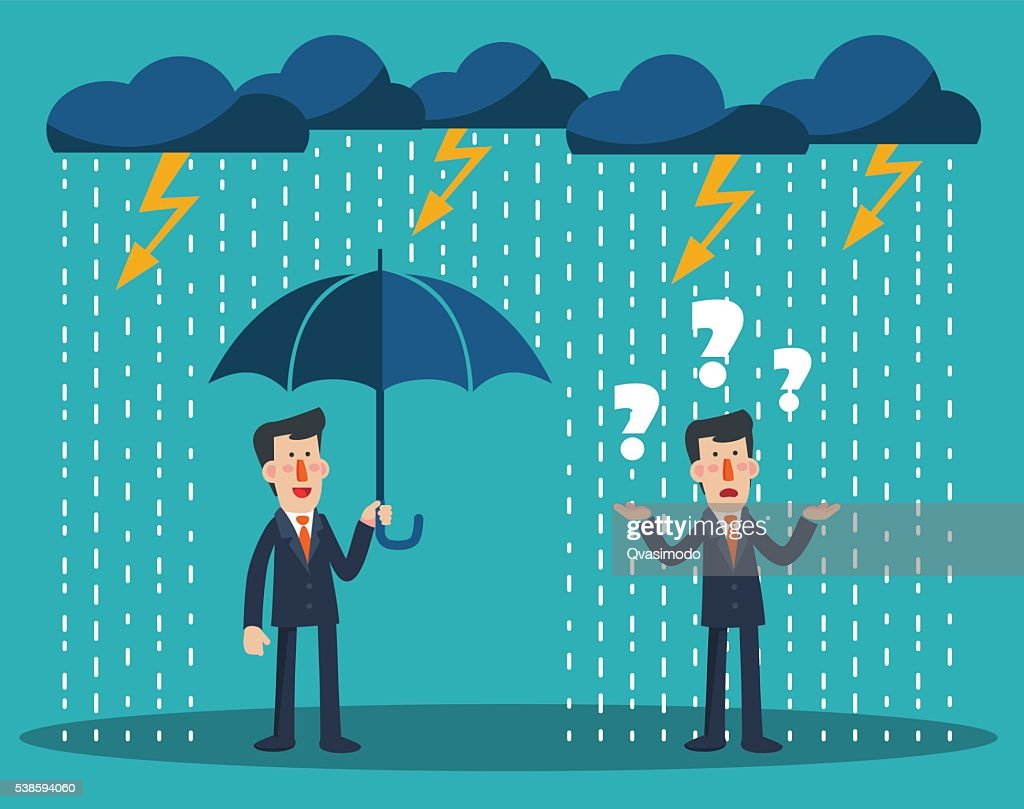 Concept of businessman protection. Concept of businessman fail and competition
