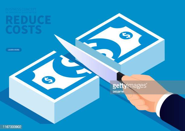 concept of cost reduction, holding a knife in hand and cutting a pile of paper money - cutting stock illustrations