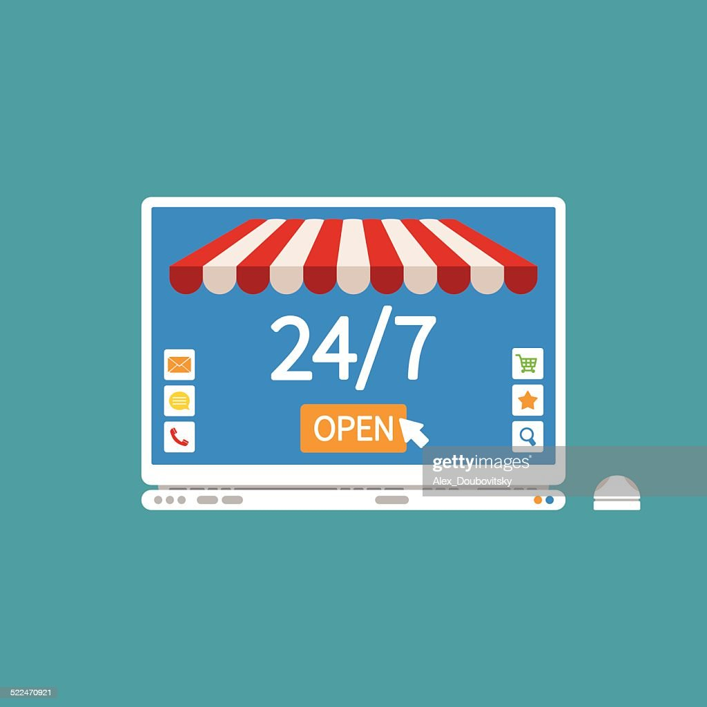 Concept of day and night online shop on laptop
