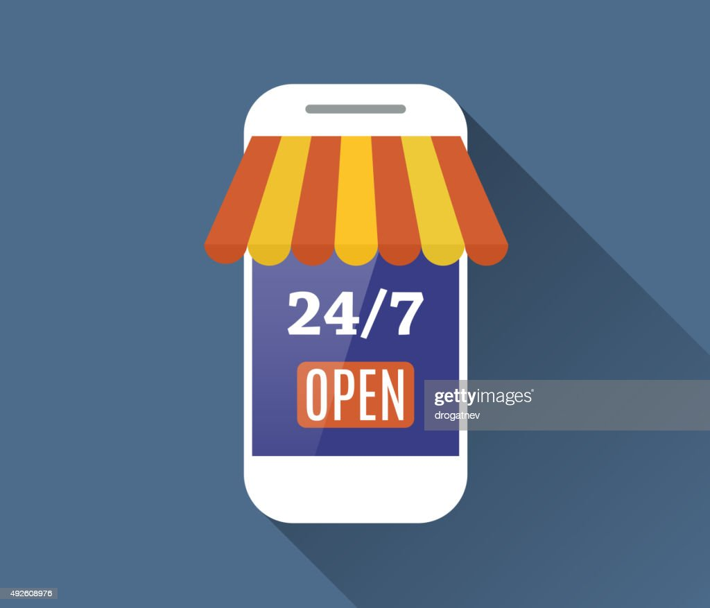 Concept of day and night online shop.
