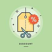 Concept of discount, line flat design banner