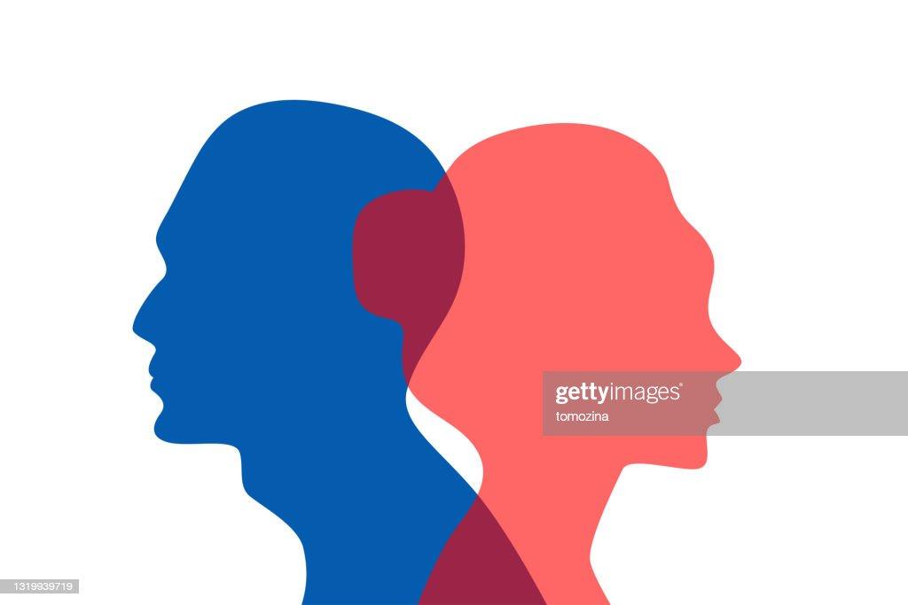 Concept of divorce,  quarrel between man and woman : stock illustration