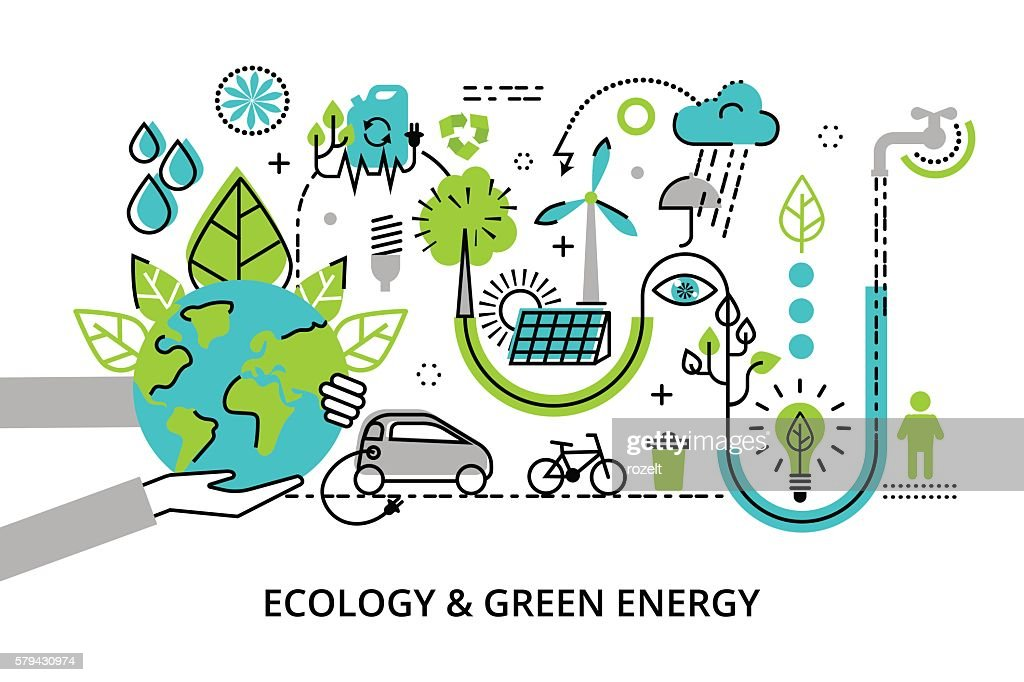 Concept of ecology problem, generation and saving green energy