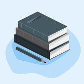 Concept of education, course of study, stack of books, pencil. On a white background with mathematical symbols. Vector image