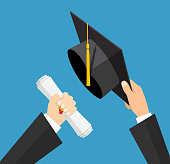 Concept of education. Graduation hat and diploma with stamp and ribbon in hands of student. vector illustration in flat style