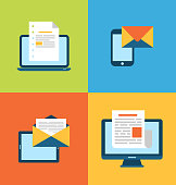Concept of email marketing via electronic gadgets - newsletter a