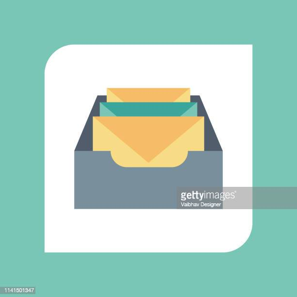 concept of email notification icon. - illustration - inbox filing tray stock illustrations